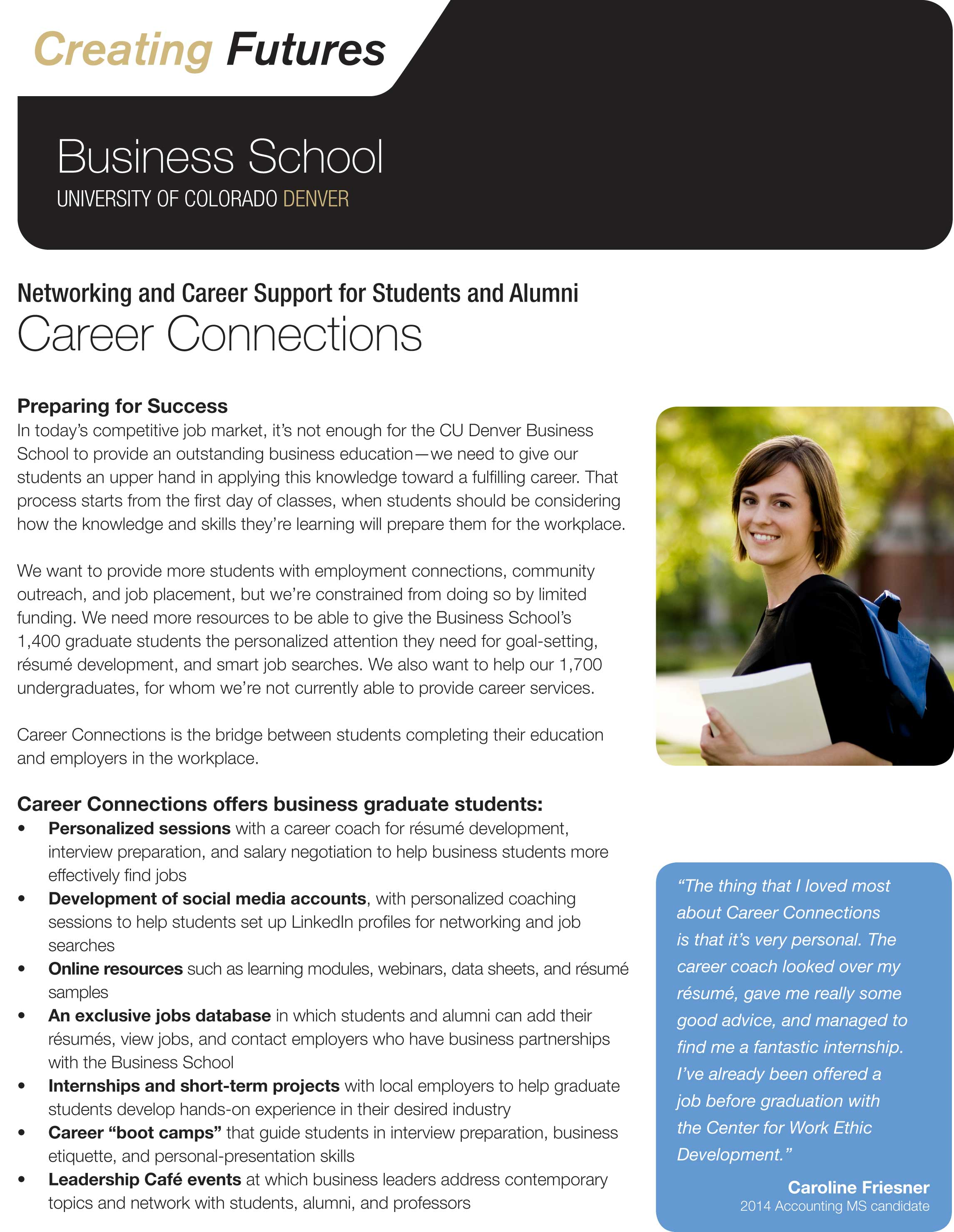 Career Connections Brochure for CU Denver.