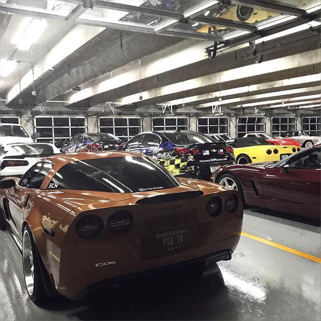 Lone Star Corvette Classic - NASCAR garage parking.  #Corvette #z06 #boosted #boostedcars #boostedlife #twinturbo #akrapovic #akrapovicexhaust