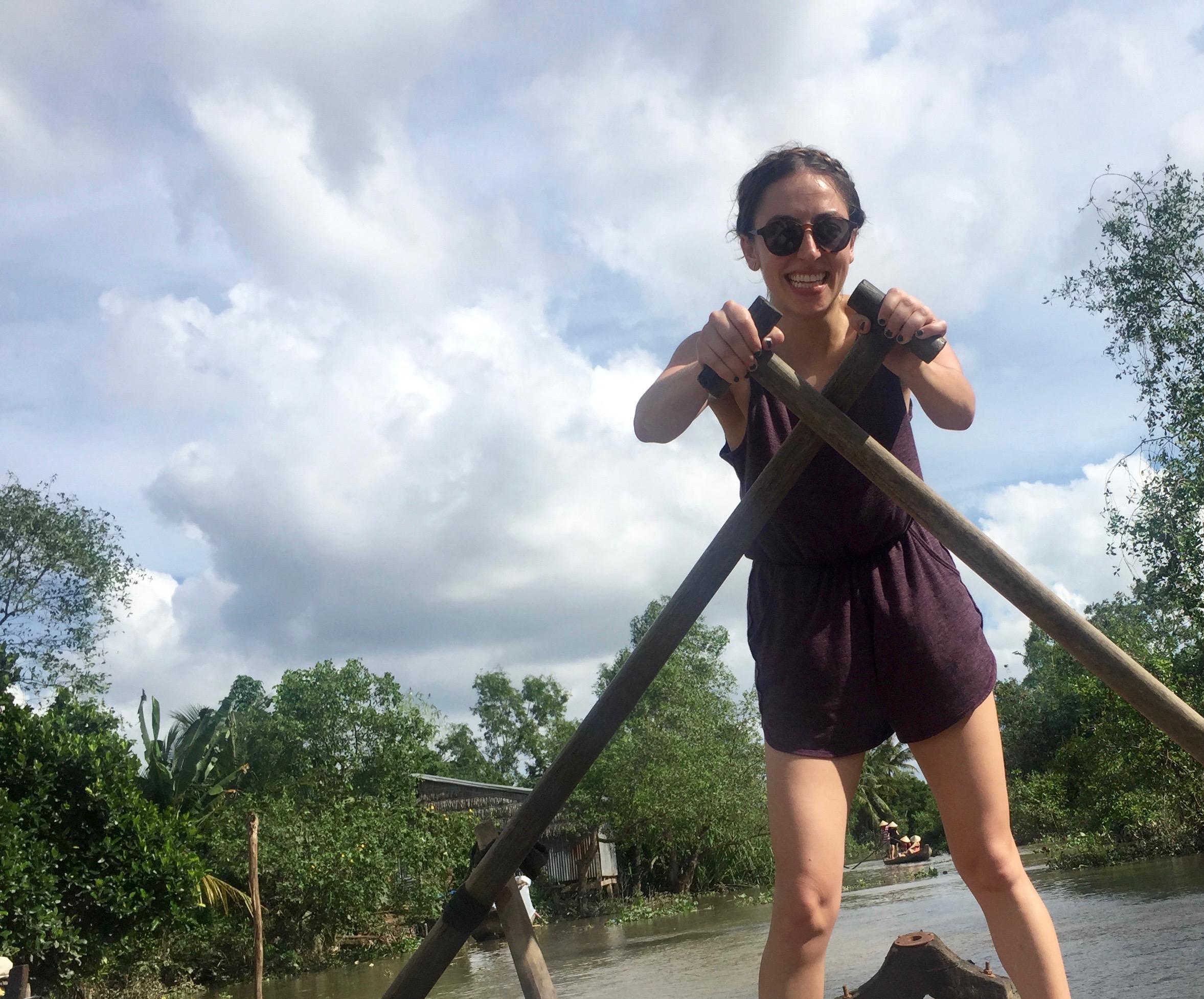 Rowing along the Mekong Delta.