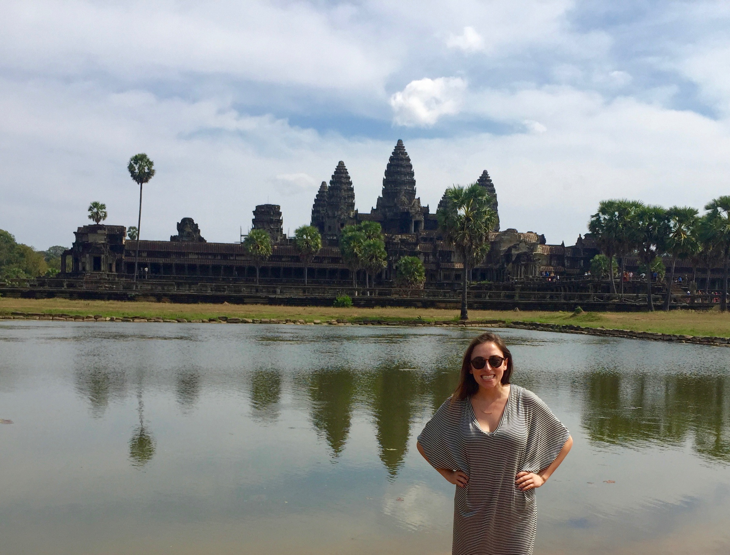 Standing in front of Angkor Wat, the largest of the Angkor temples.