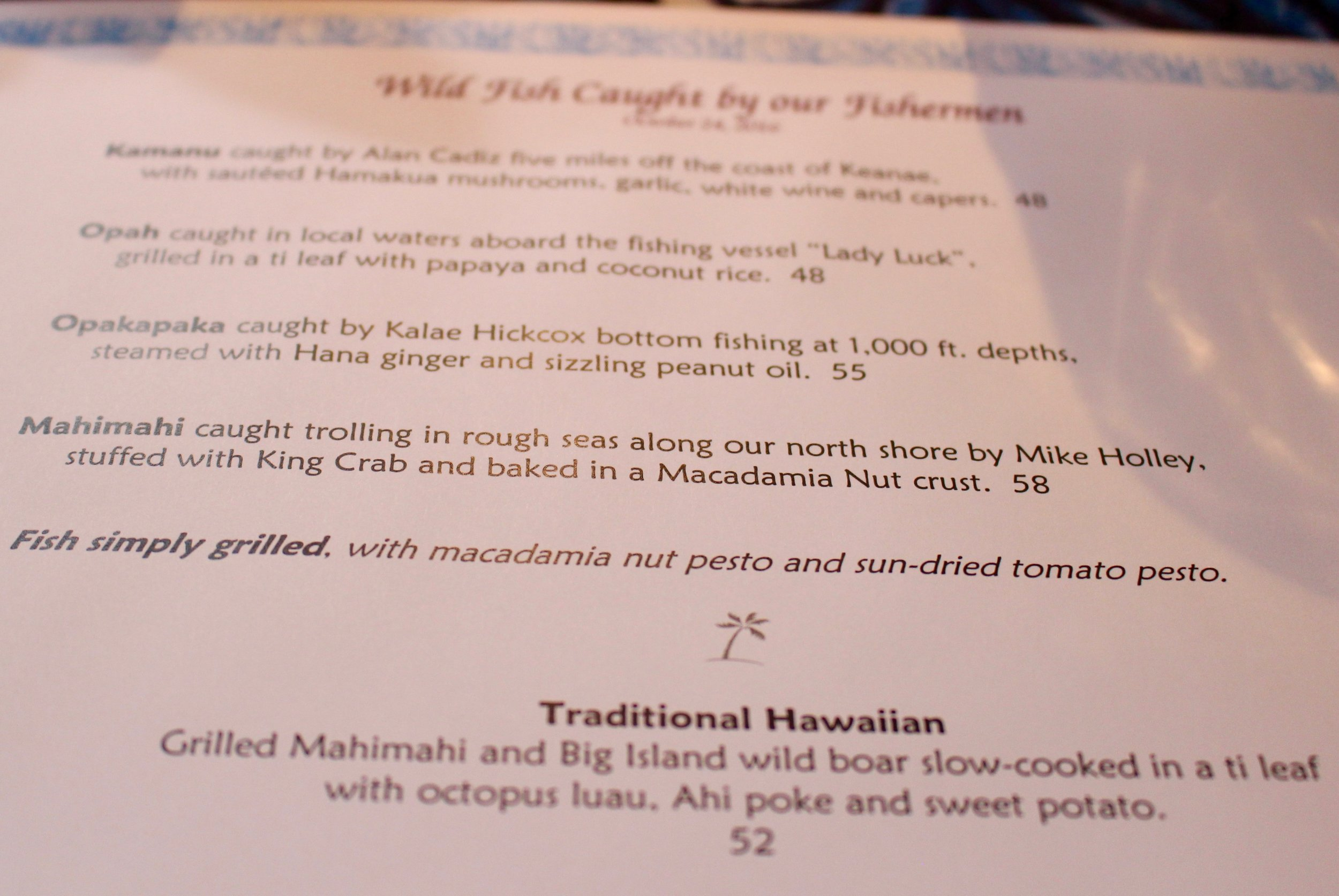 I read this menu with pure excitement, unsure of what I would order.