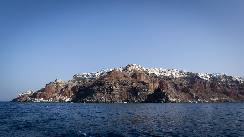 Looking back at Oia from the boat.