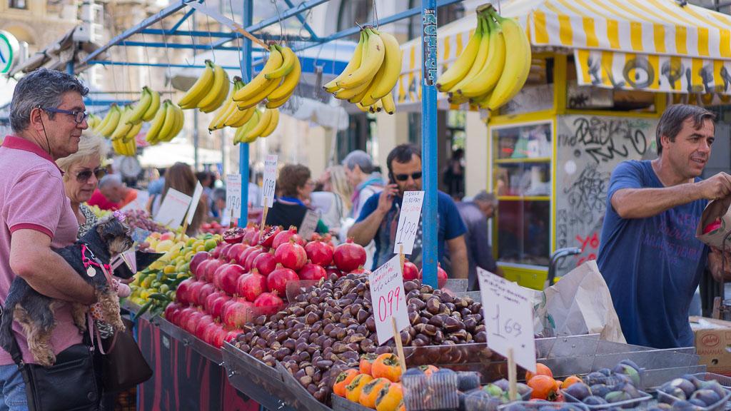 Beautiful fresh market in Monastiraki Square, Athens, Greece