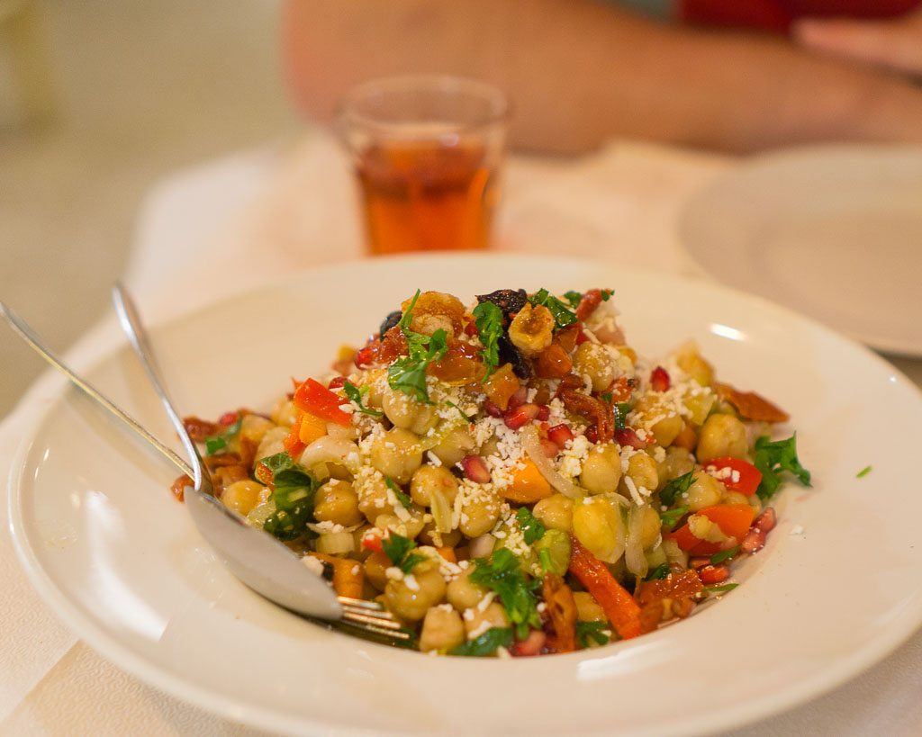 Dan and I like to share delicious salads to start. Chickpea salad in Athens, Greece, but yes it has a little shaved feta!
