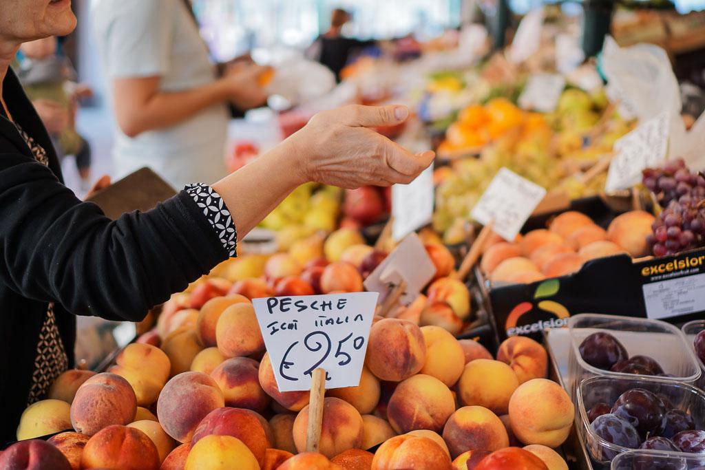 Fresh peaches in Venice, Italy