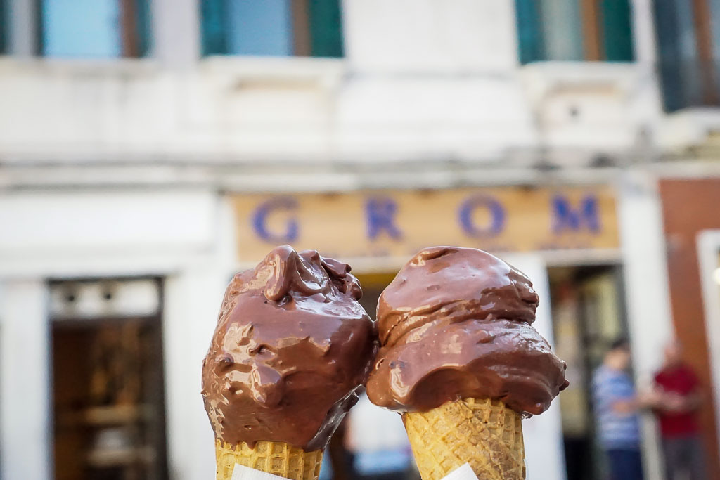 Chocolate non-dairy gelato at Grom is TOTALLY worth the indulgence. Venice, Italy
