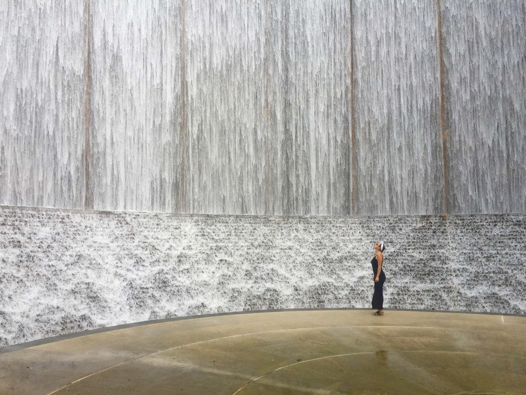 Check out this giant water wall in Houston, TX. You can find it  here . (October, 2016)