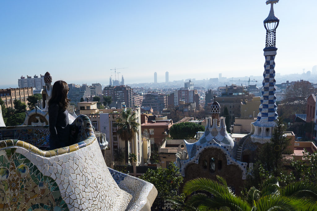 At Park Güell overlooking the city