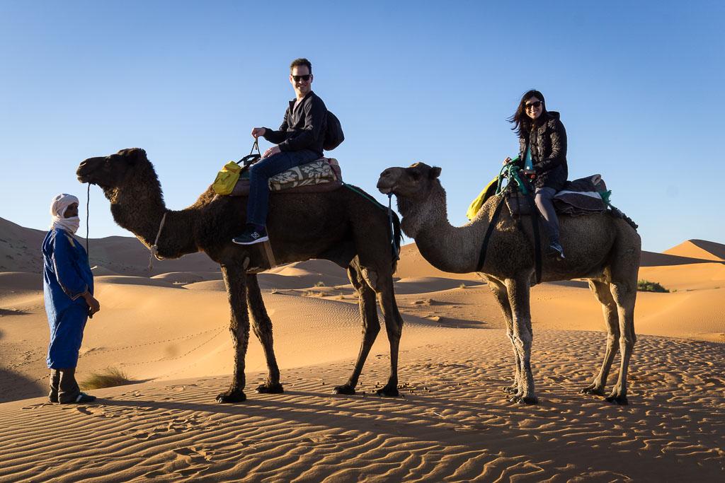 Morgan and Dan with  Kam Kam Dunes  in the Sahara Desert of Morocco. (Erg Chebbi, 2016)