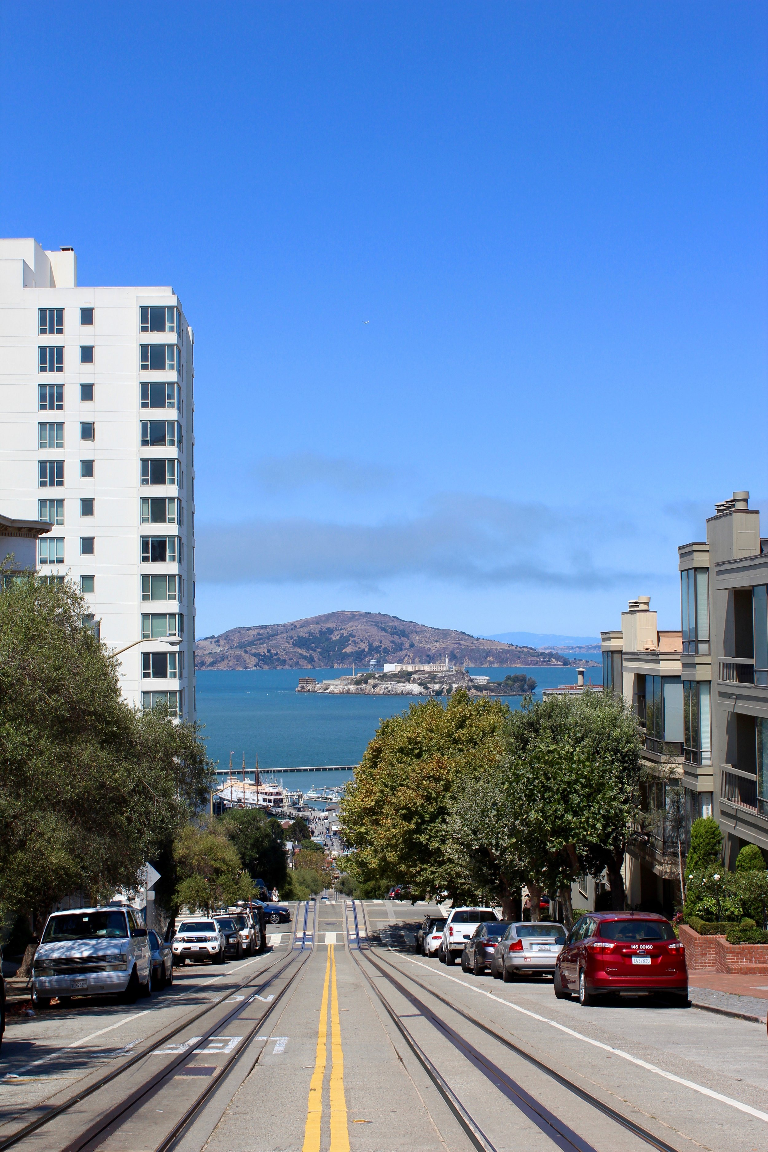 Views of  Alcatraz Island from Pacific Heights, San Francisco. (August, 2016)