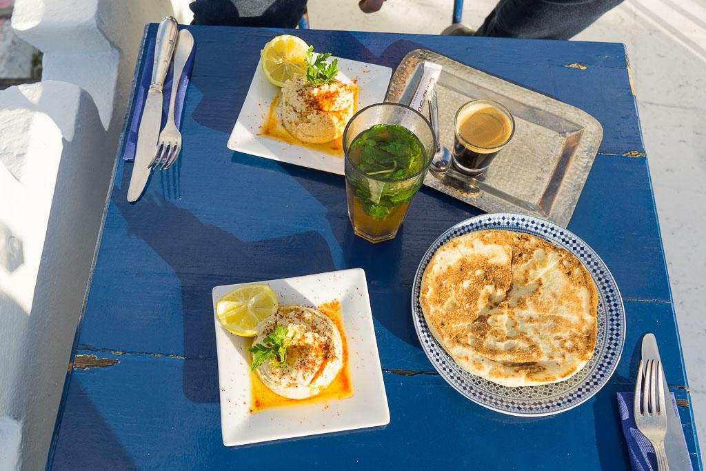 Hummus and Moroccan flat bread