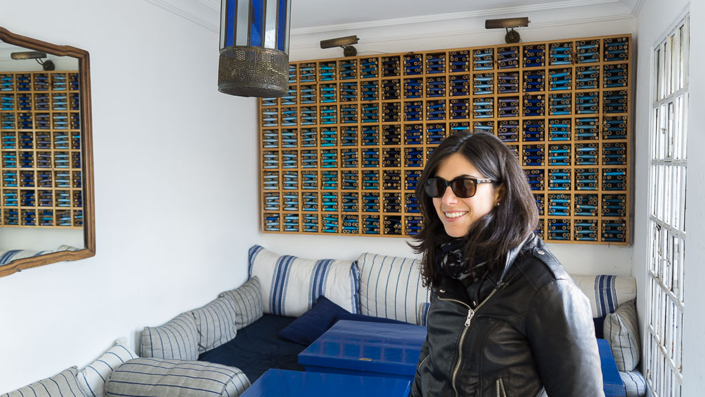 The inside of the restaurant was beautifully decorated in shades of blue.