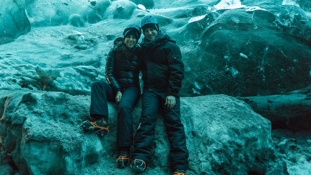 Dan and I in the ice cave. Yes, we're glowing blue.