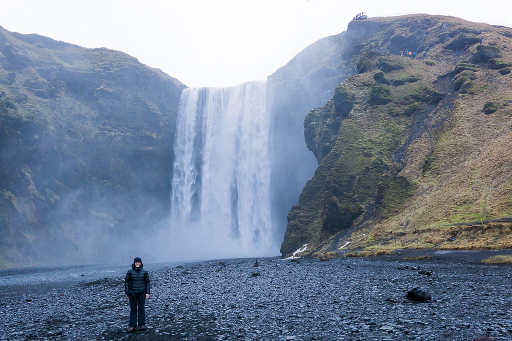 Nothing like an Icelandic waterfall to make you feel small. Another one from Skógafoss.