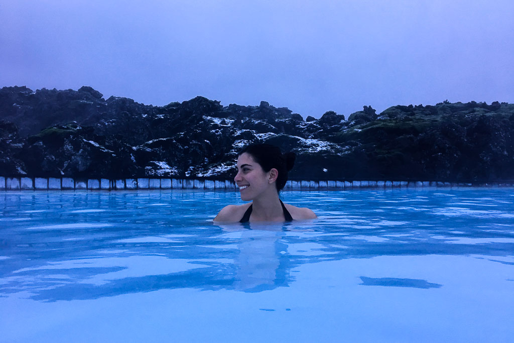 In the Blue Lagoon. So toasty and a great way to relax after your flight.