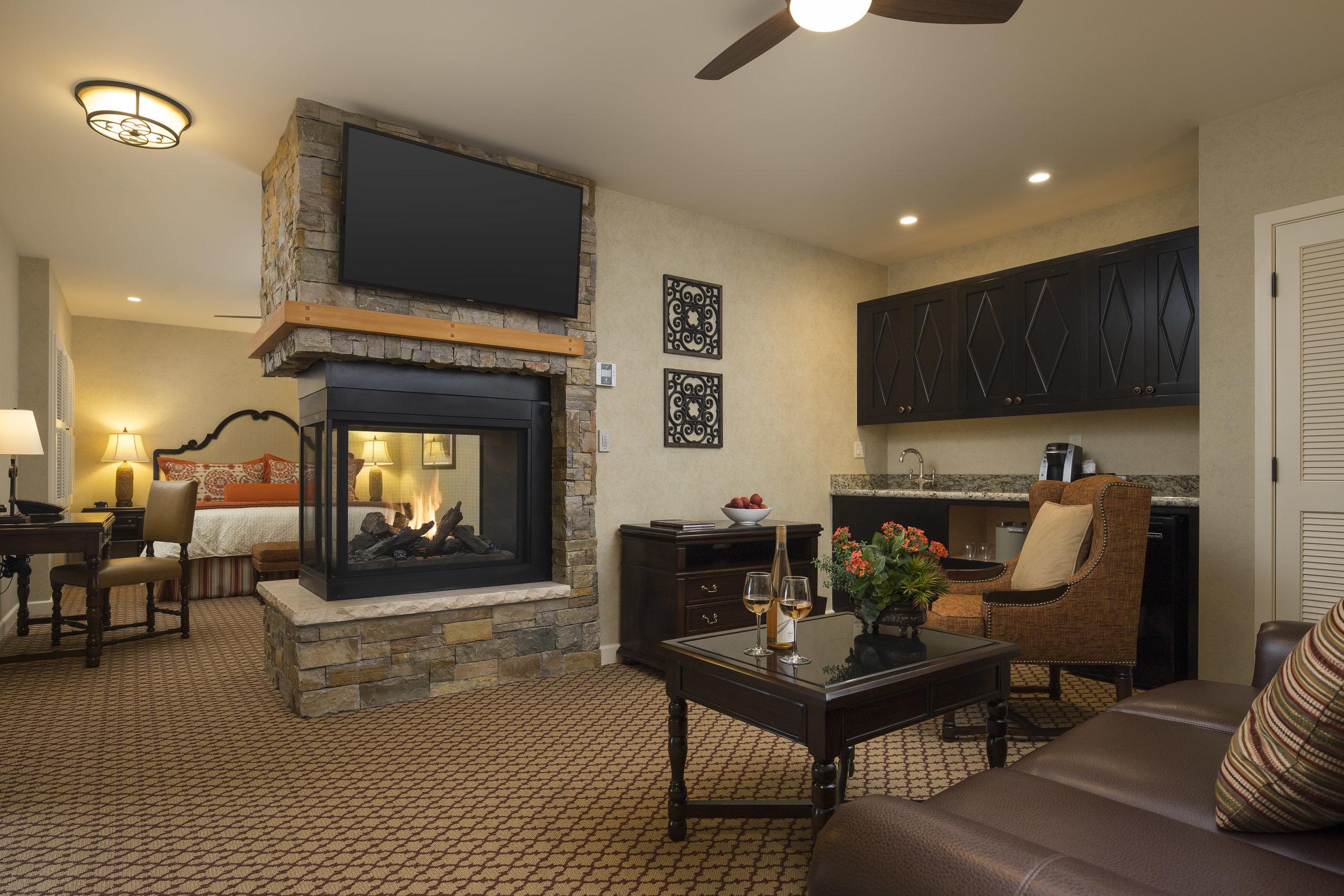Our gorgeous junior suite at the  Casa Munras Garden Hotel & Spa  in Monterey.