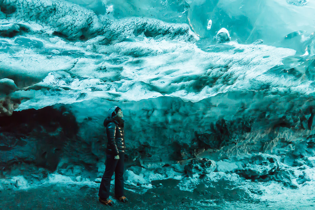 In an ice cave!