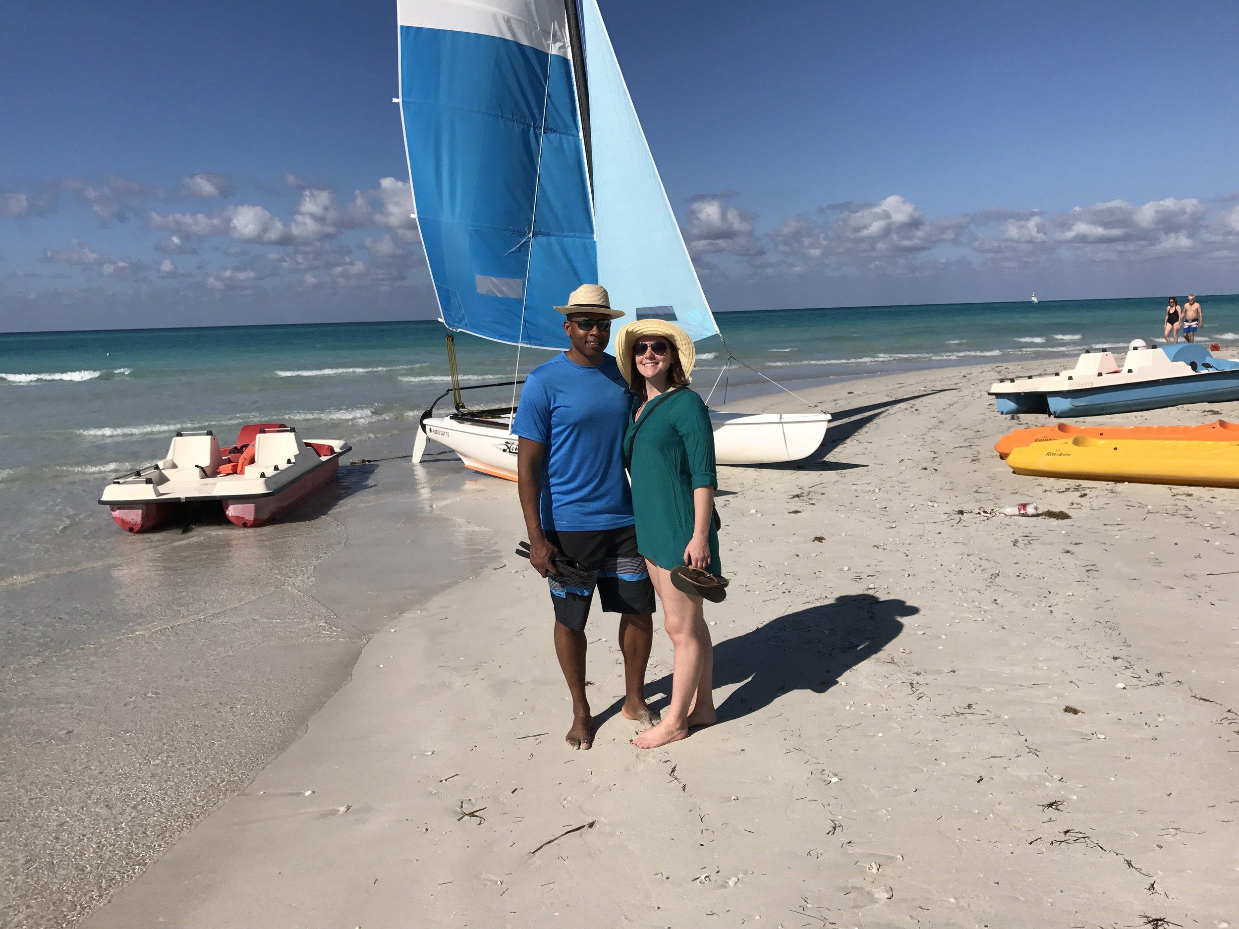 Sami & Chris on the beach in Varadero.