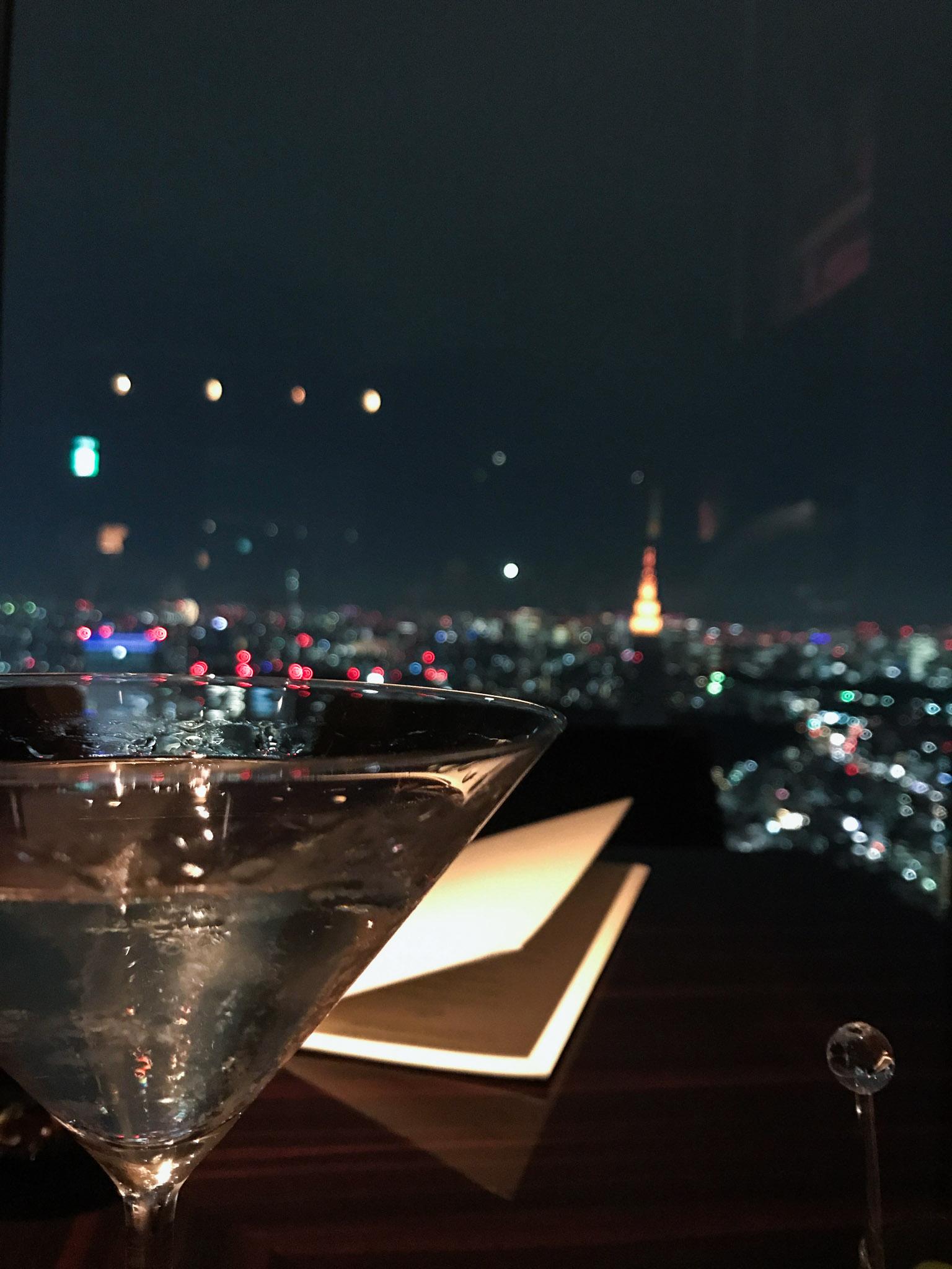 My gin martini and Tokyo skyline view.