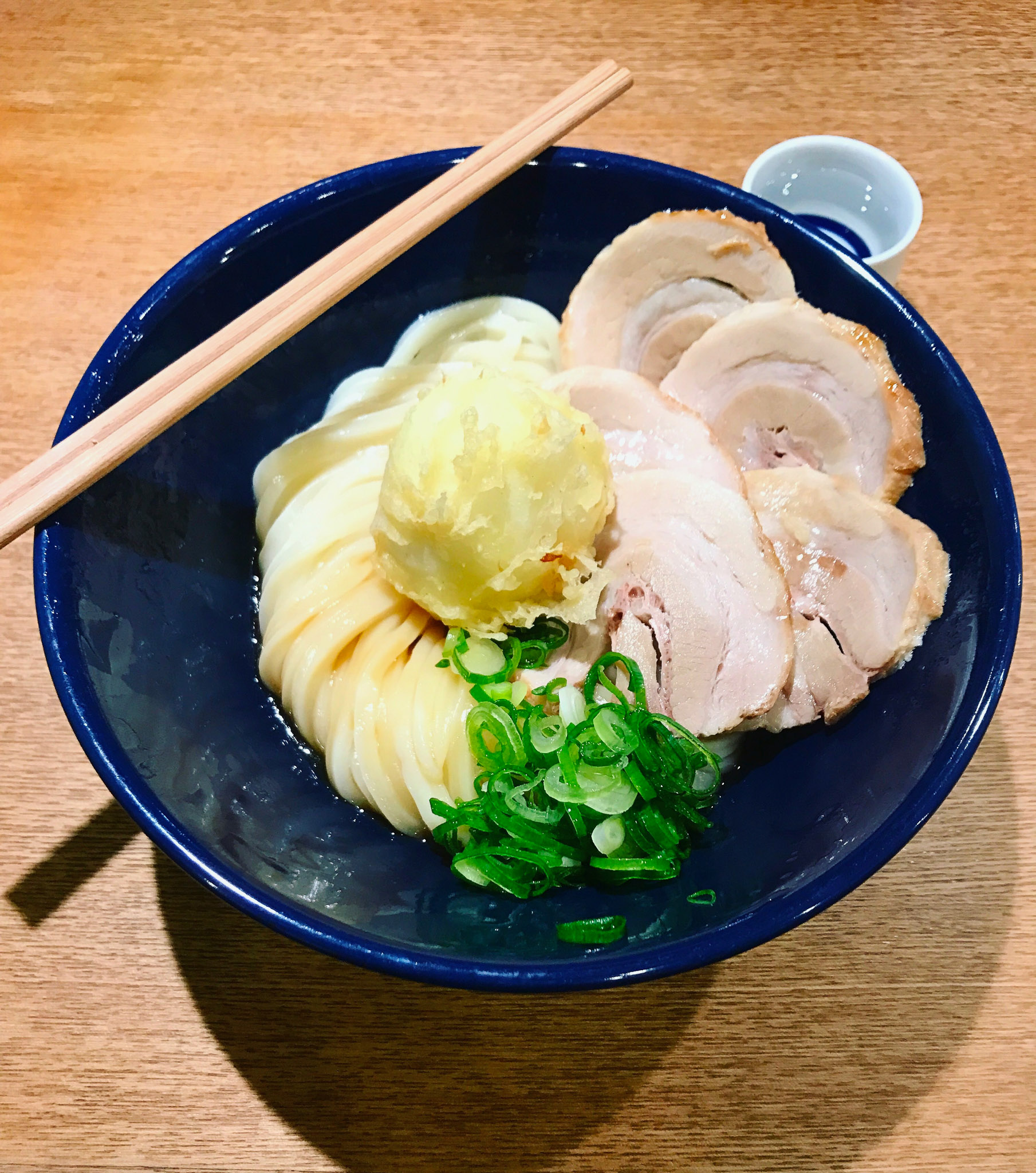 Udon has a thicker, softer wheat noodle than what you eat in ramen.