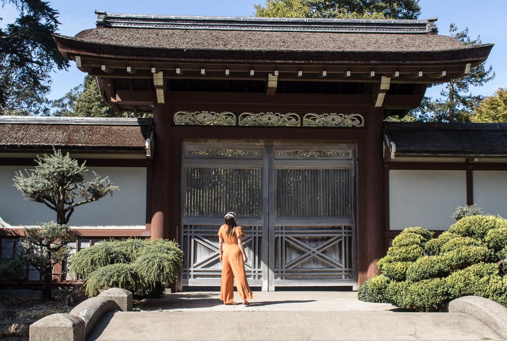 Standing outside the gate at Golden Gate Park's  Japanese Tea Garden .