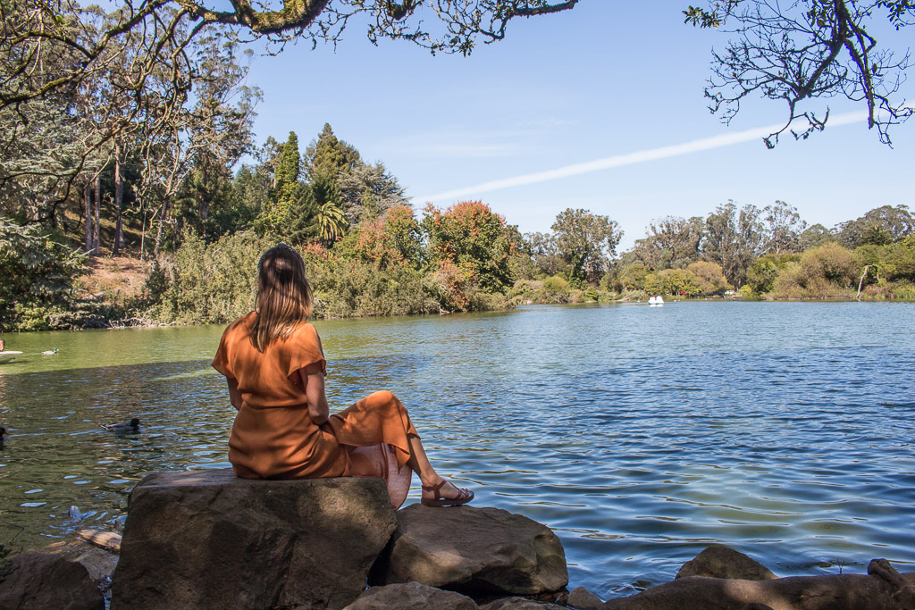 Sitting at the bank of  Stow Lake .