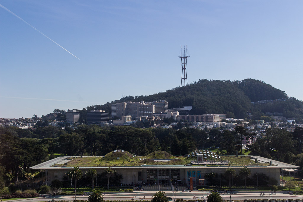 This is the view of the  Academy of Sciences  from the  Hamon Tower  at the de Young.