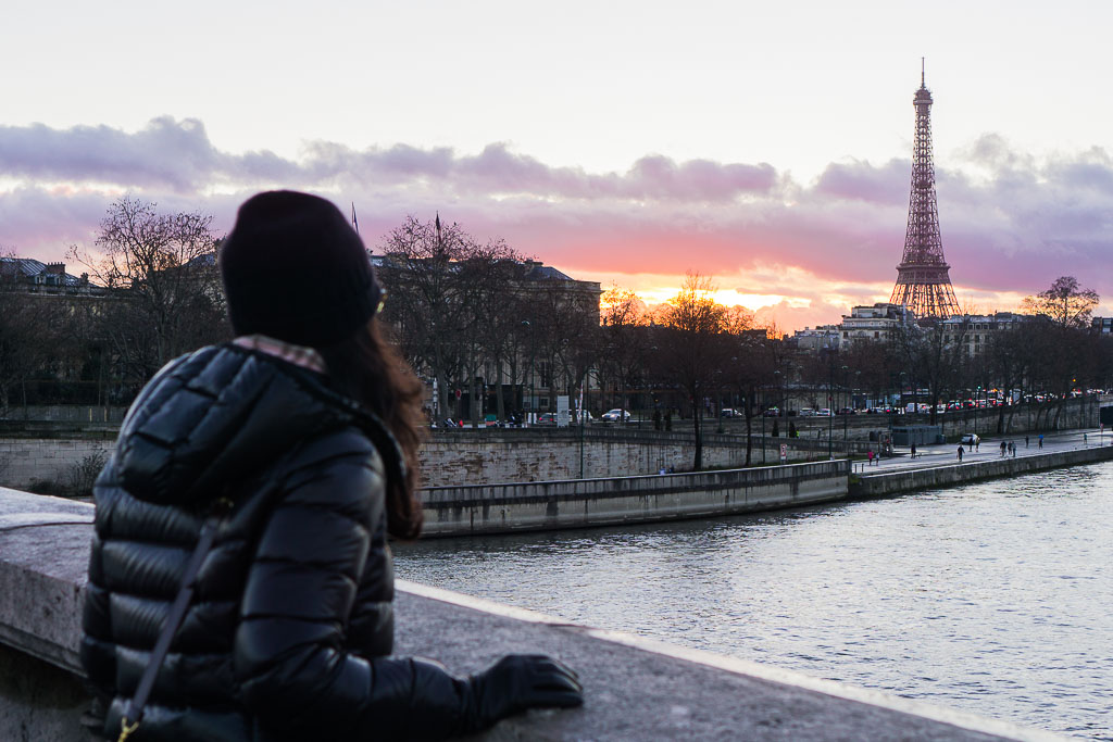 A cold winter sunset in Paris. February, 2017