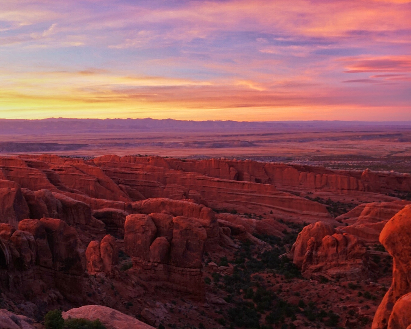 Sunset over Arches National Park. June, 2017