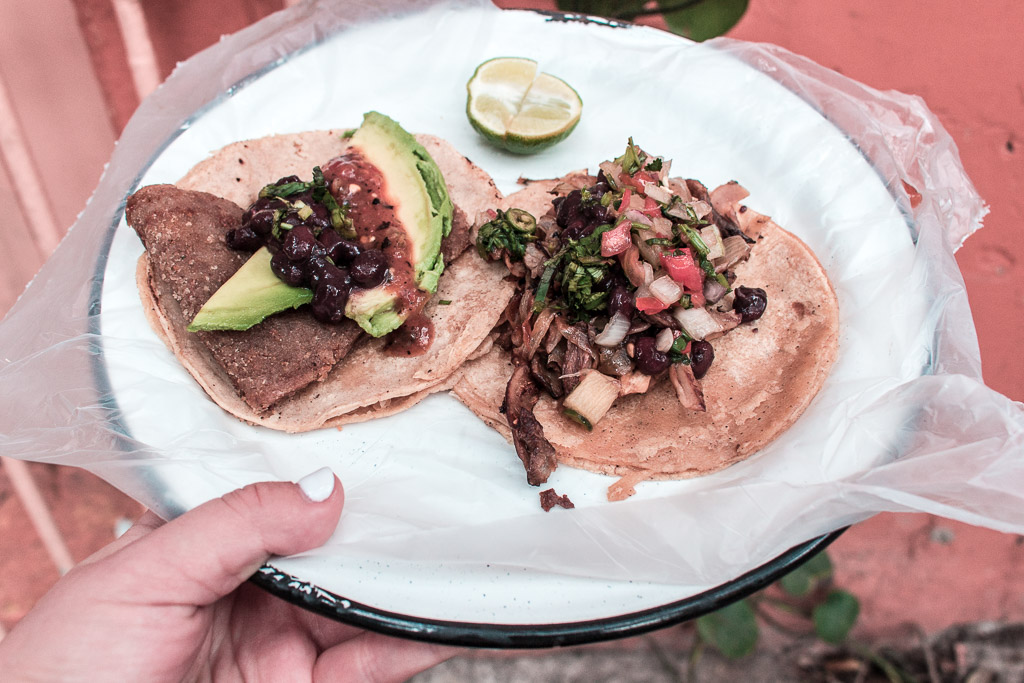Meatless tacos from Por Siempre in Mexico City.