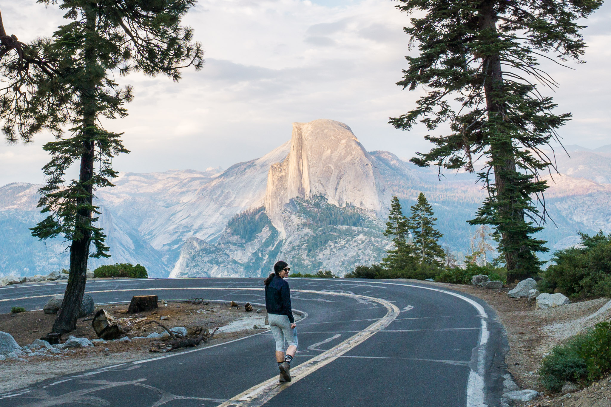 On the road to Glacier Point with Half Dome in the distance