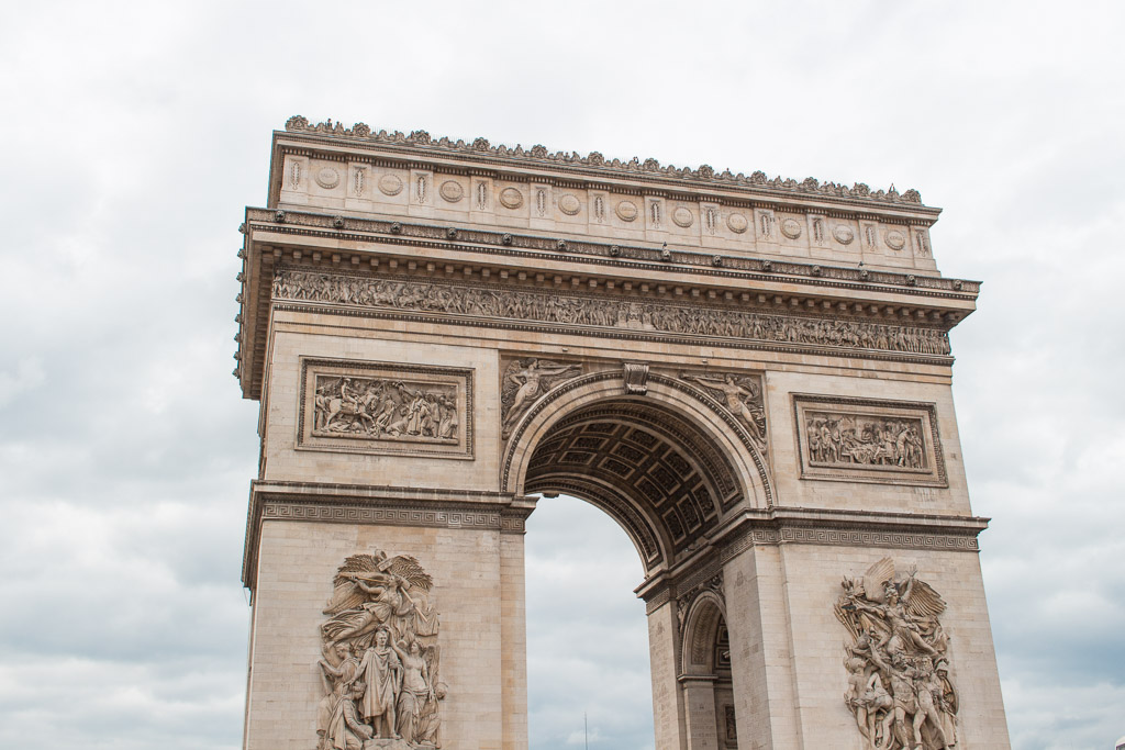 Arc de Triomphe is on the other side of Champs-Élysée if you start walking from Palace de la Concorde.
