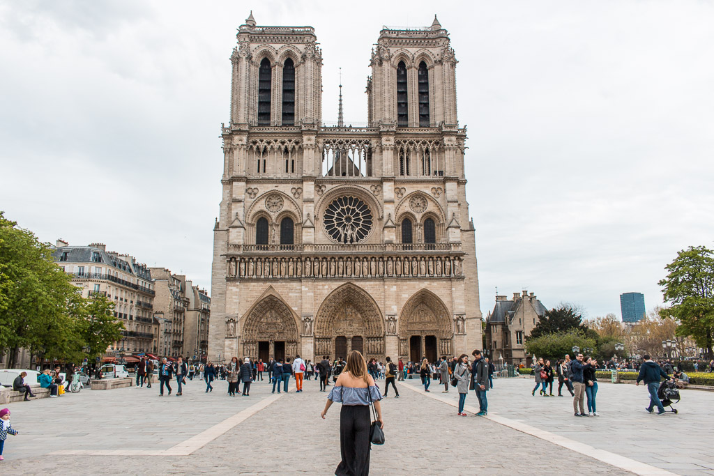 Approaching Notre-Dame Cathedral.