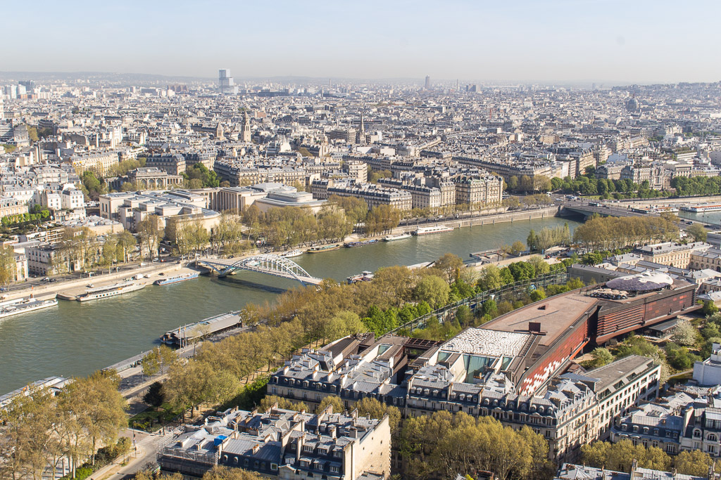 View of the Seine from the top of the Eiffel Tower.