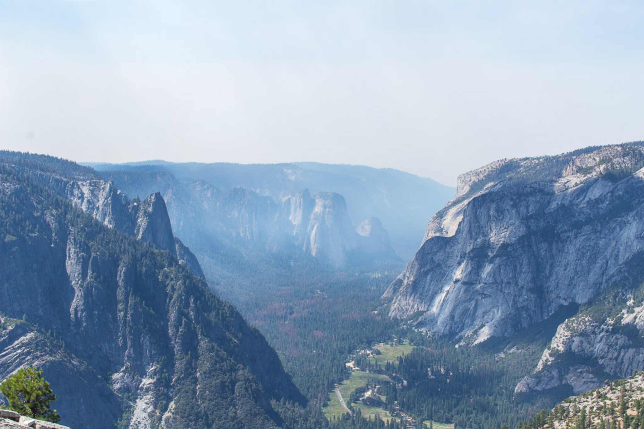 Views into Yosemite Valley from the top of North Dome.