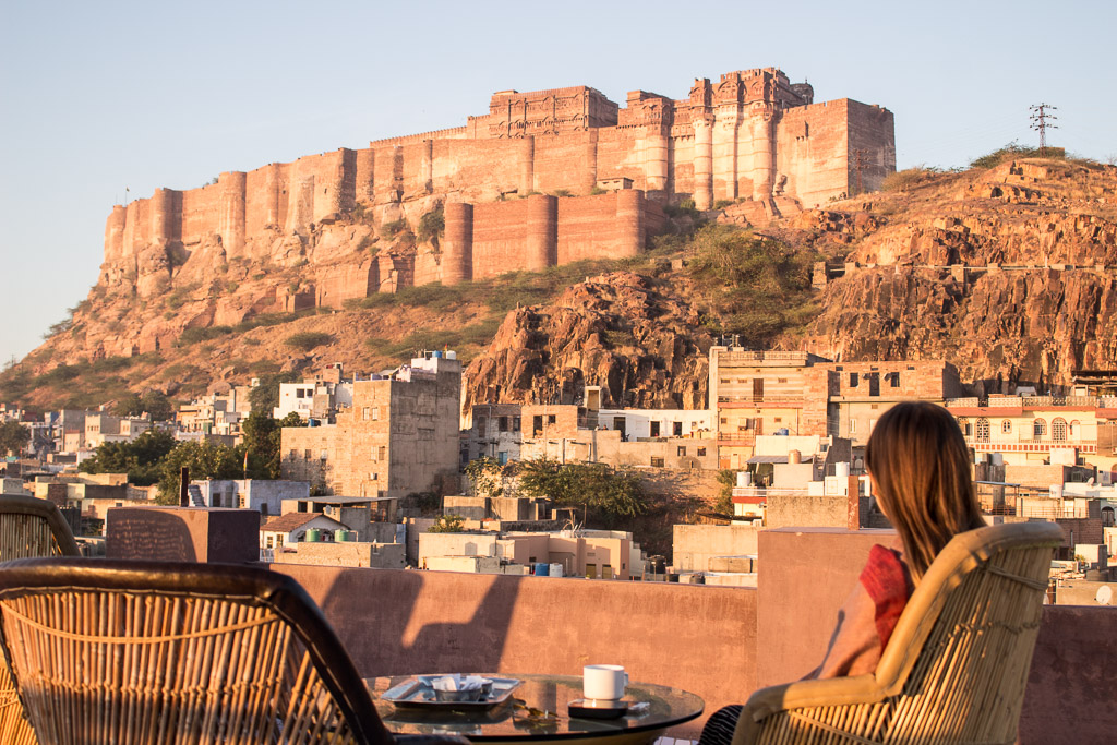 Morning coffee at sunrise on the rooftop of our Airbnb in Jodhpur, India.