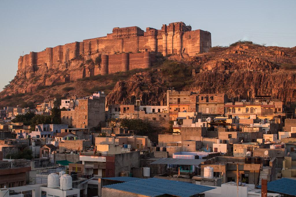 Mehrangarh Fort sitting above Jodhpur.