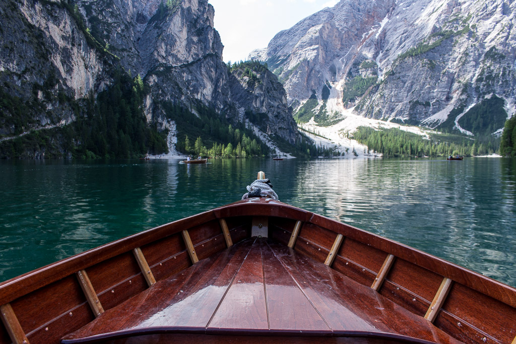 The view of Lago di Braies from our boat. Not pictured: Daniel and I trying to convince the other to row.