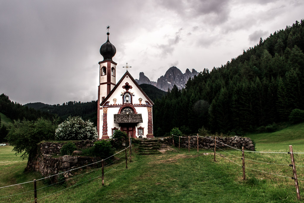 Stop to visit the San Giovanni church during your drive through Val di Funes.