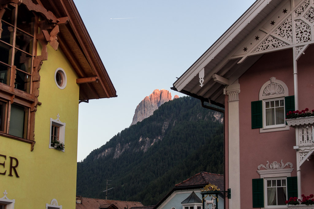 The yellow building is one of the nicest hotels in Ortisei, the Adler Spa Hotel.