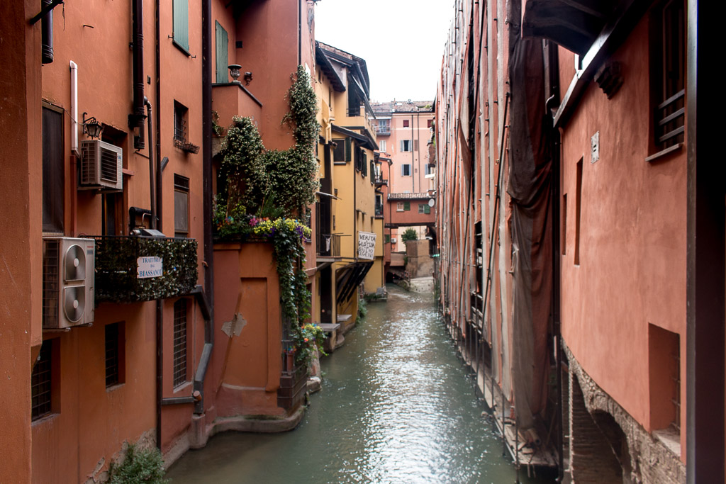 The hidden canals of Bologna, Italy.