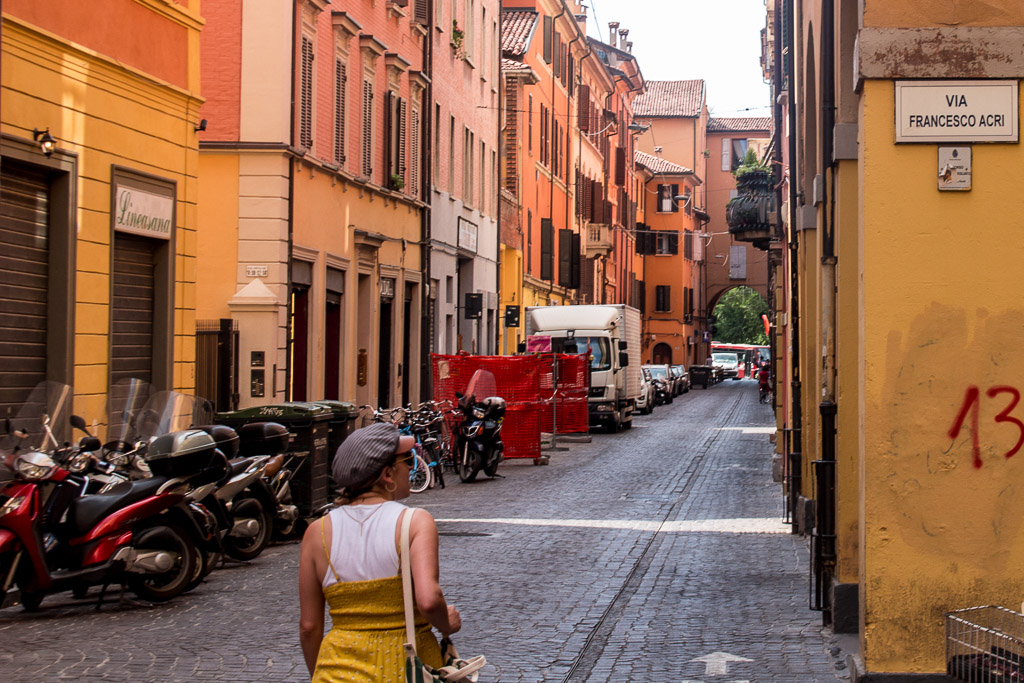 Walking the colorful streets of Bologna, Italy.