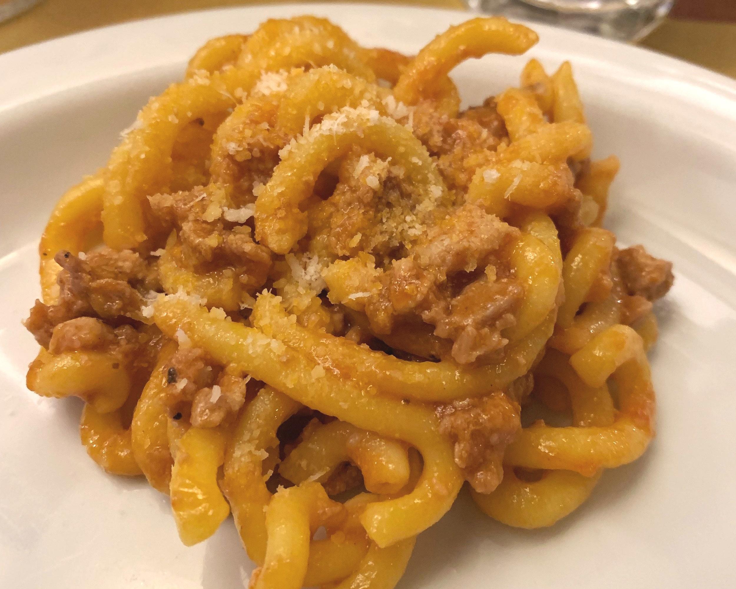 The gramigna, my favorite dish at Osteria Broccaindosso.