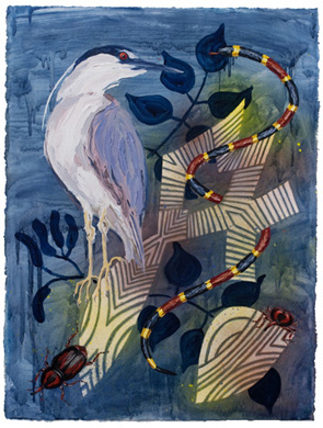 """Biome: Everglades 1,  2010  30"""" x 23"""" Oil & spray paint on paper"""