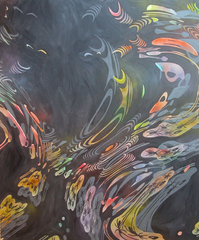 """Spiders, clouds and other things,  2004  72"""" x 60"""" Oil & spray paint on canvas"""