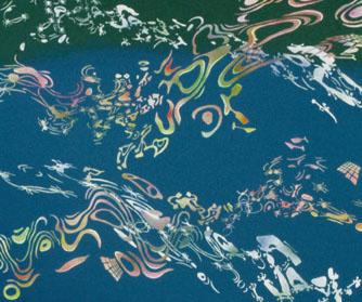 "Spiders, fungi, etc.,  2003  32"" x 38"" Oil & spray paint on canvas"