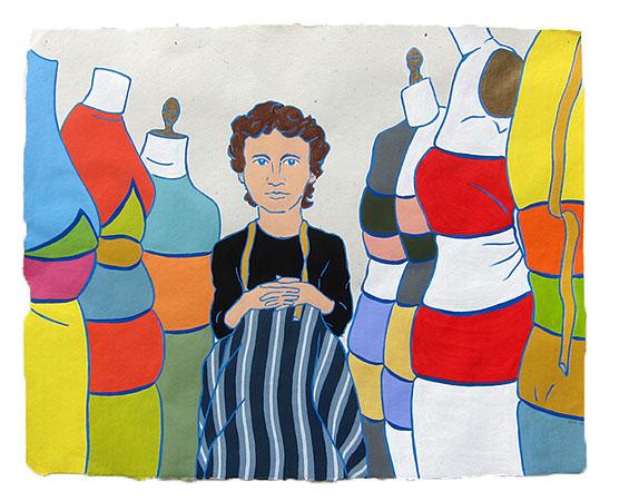 "Elizabeth Hawes,  2014  16"" x 20"" Flashe on paper"