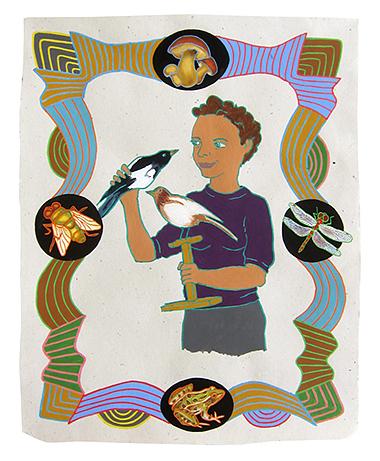 "Hanna Marie Wormington, archaeolgist,  2013  20"" x 16"" Flashe on paper"