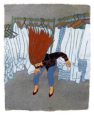 "The Ladies: Alexandra Bachzetsis,  2013  20"" x 16"" Flashe on paper"