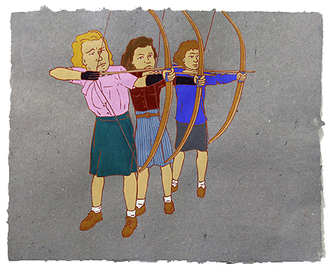 "The Ladies: Archers,  2011  16"" x 20"" Flashe on paper"